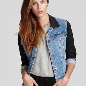 J Brand- Denim Jacket with Coated Sleeves